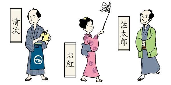 キャラクター紹介「清次」「お紅」「佐太郎」